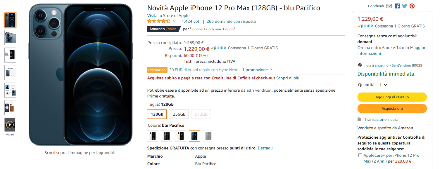 amazon, guida definitiva, Apple iPhone 12 Pro Max . gosumania offerte e sconti