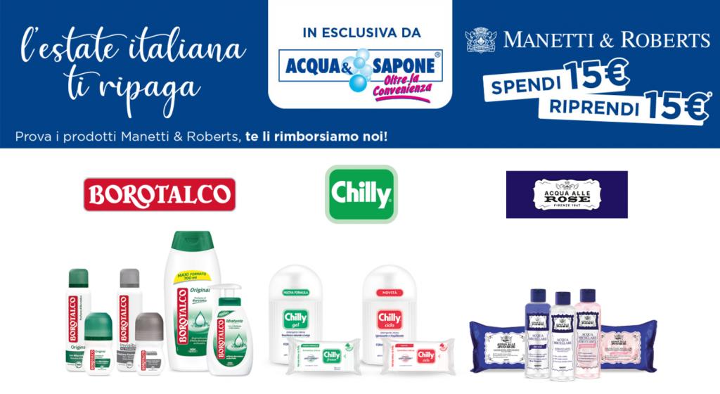 Acqua e sapone concorso sepndi e riprendi 15€ Manetti & Roberts GosuMania