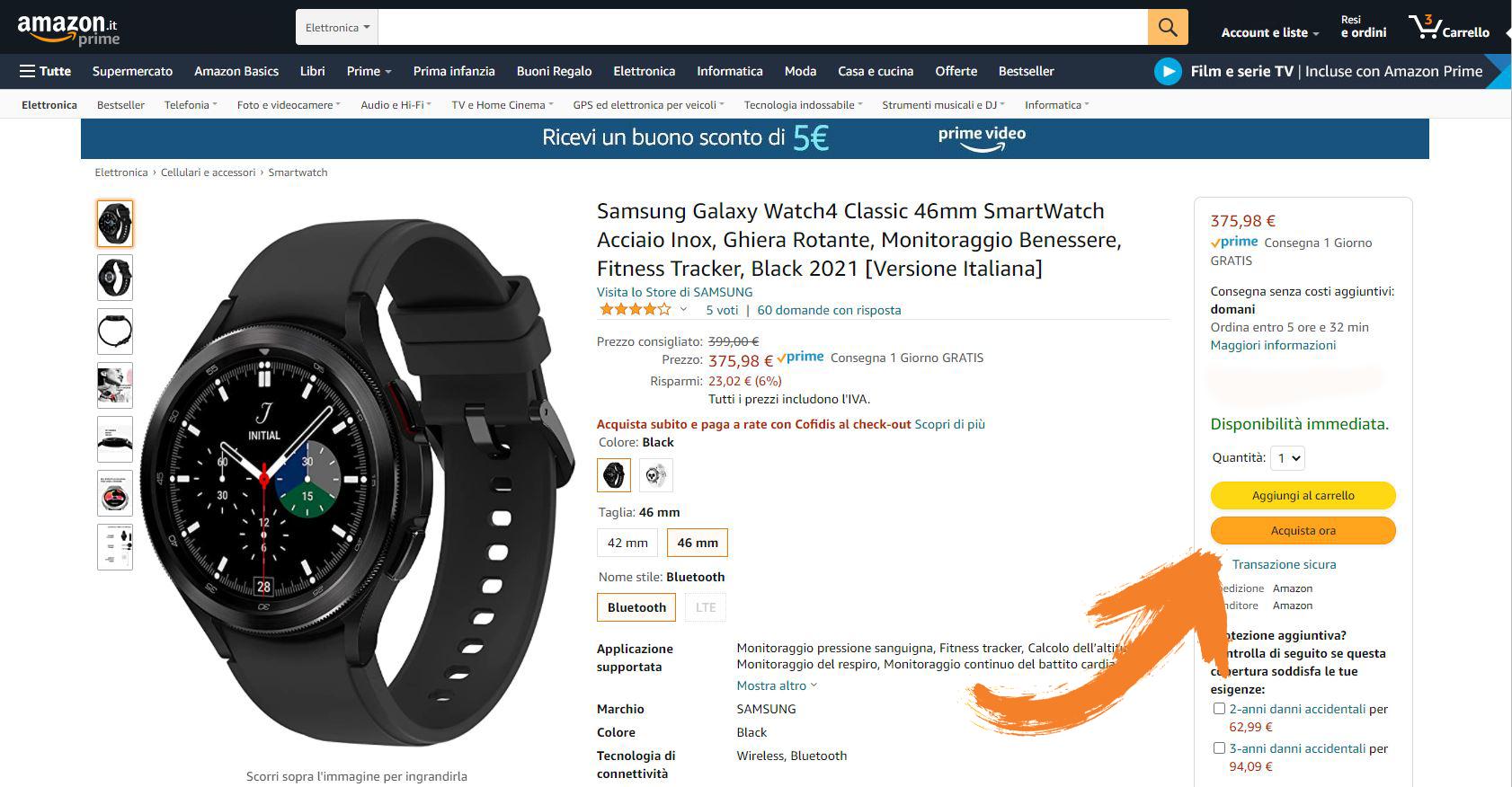 1 come applicare codice sconto su amazon, samsung galaxy watch4