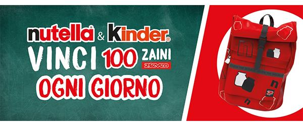 Concorso Nutella & Kinder vinci 100 zaini Seven