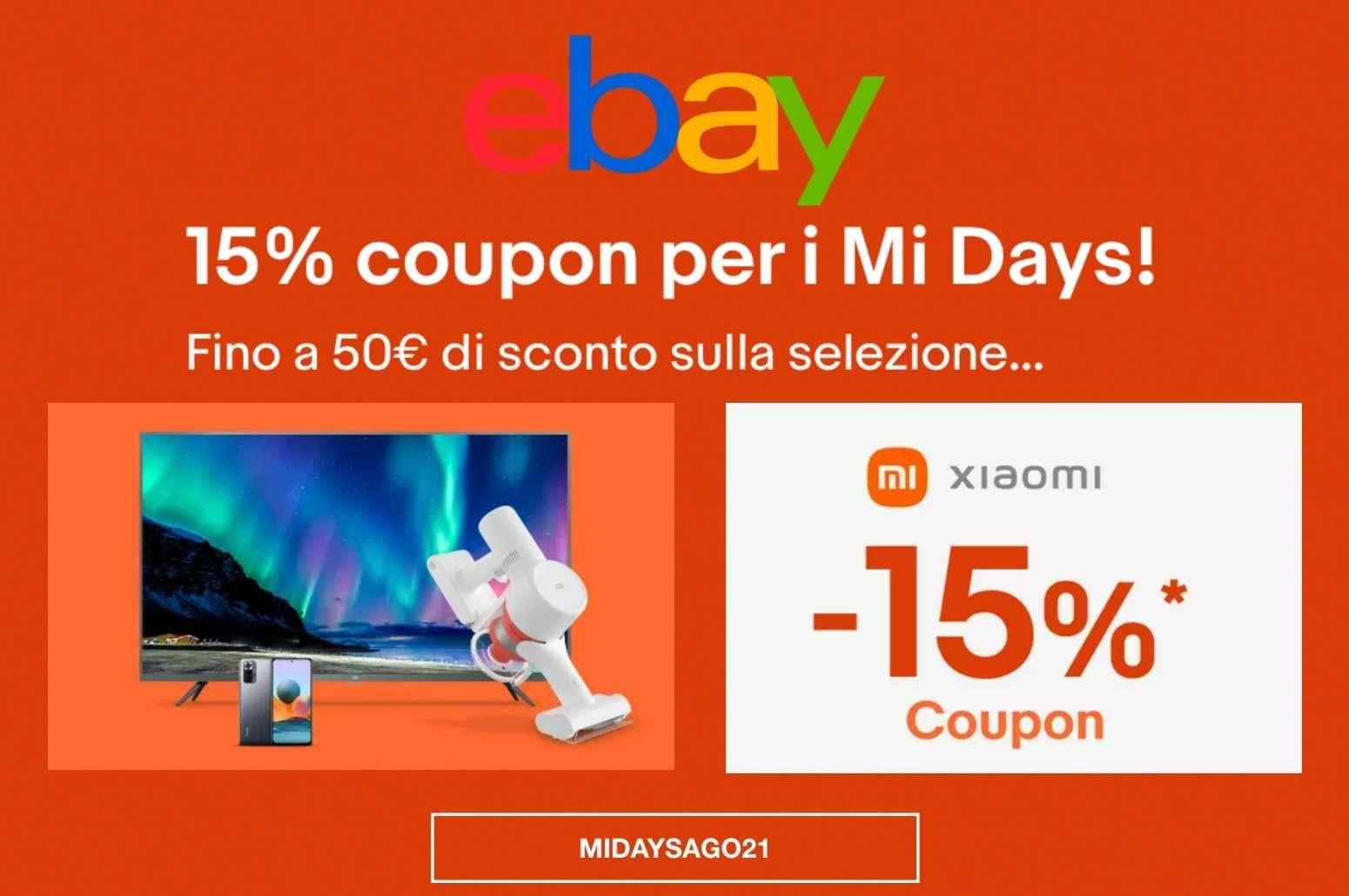 Xiaomi Mi Days ebay codice sconto del 15% GosuMania