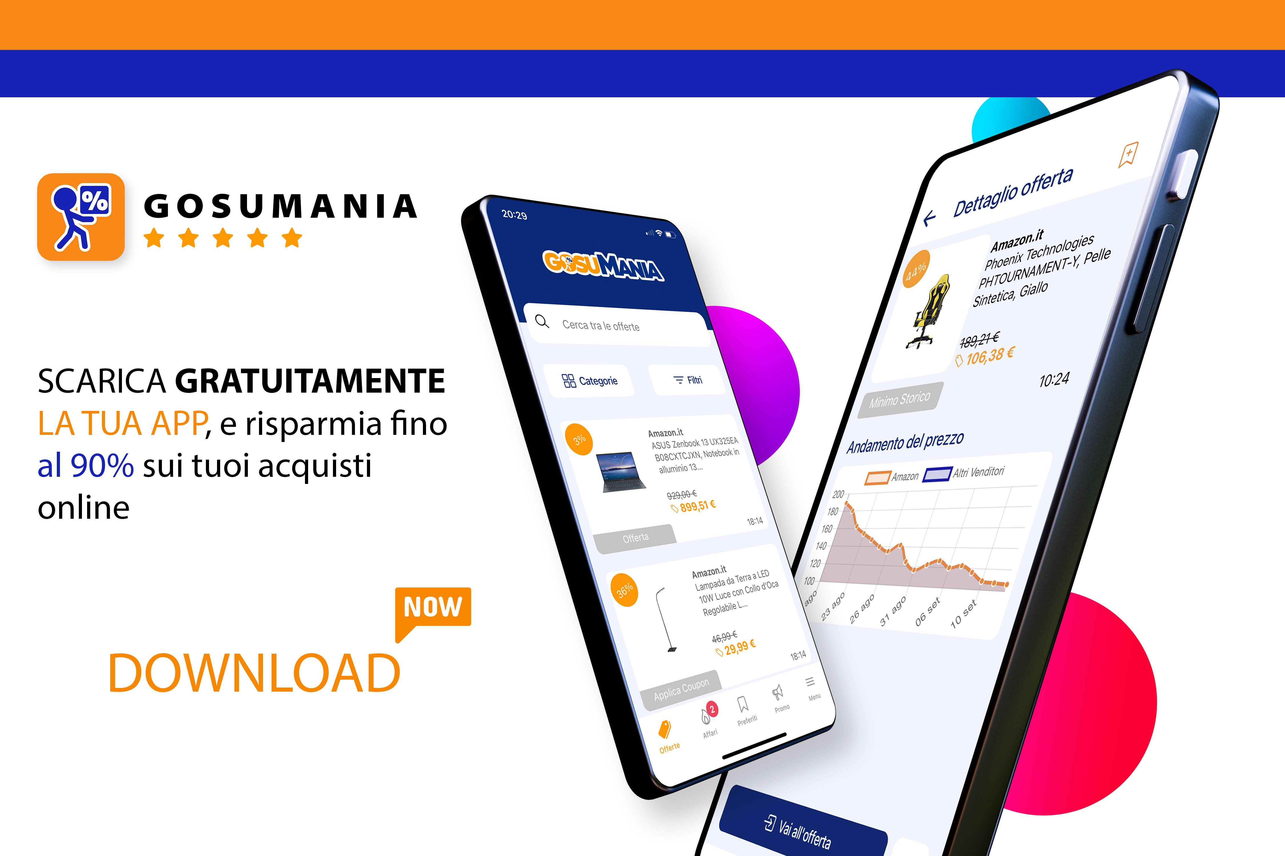 scarica app Download app lista preferiti App Gosumania Amazon sconto offerte codici coupon
